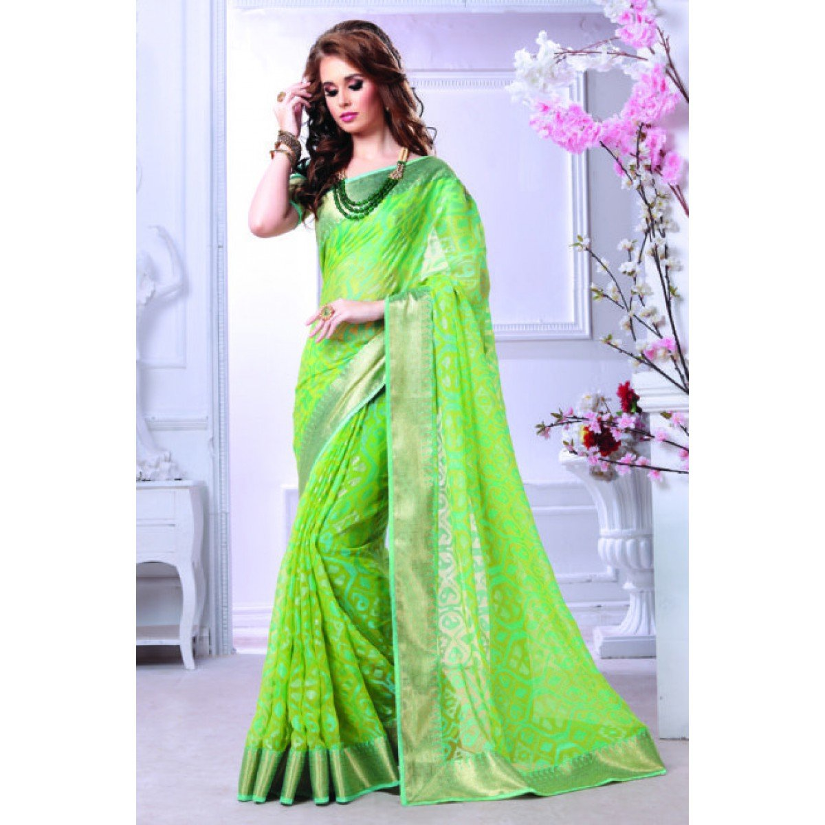 Brasso Green Printed Saree