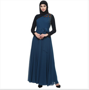 Blue evening gown embellished abaya