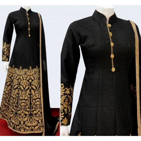 Silk Black Embroidered Semi Stitched Long Anarkali Suit