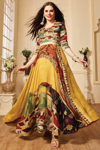 Ethnic Wear Designer Embroidered Pure Banglori Anarkali Gown With Dupatta