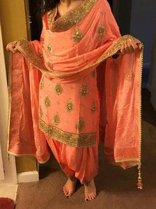 peach color punjabi suits