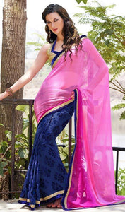 Georgette Multicolored Designer Bollywood Saree with Blouse Material