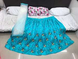 Bollywood Designer Sky Blue Paper Silk Embroidered Circular Lehenga With Dupatta