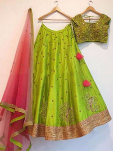 Parrot And Pink Taffeta Silk Embroidery Bollywood Designer Lehenga Choli