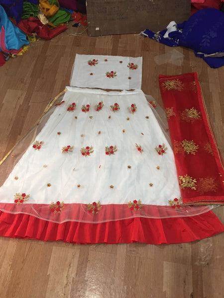 White Crinkled Mukaish Work Dupatta