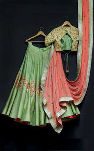 Beautiful Pista Green Taffeta Floral Designer Thread Work Lehenga and Blouse with Pink Dupatta