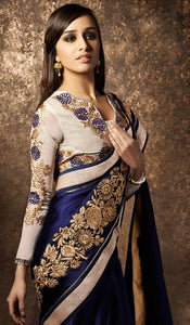 Georgette Multicolor Embroidered Shraddha Kapoor Saree with Blouse Material