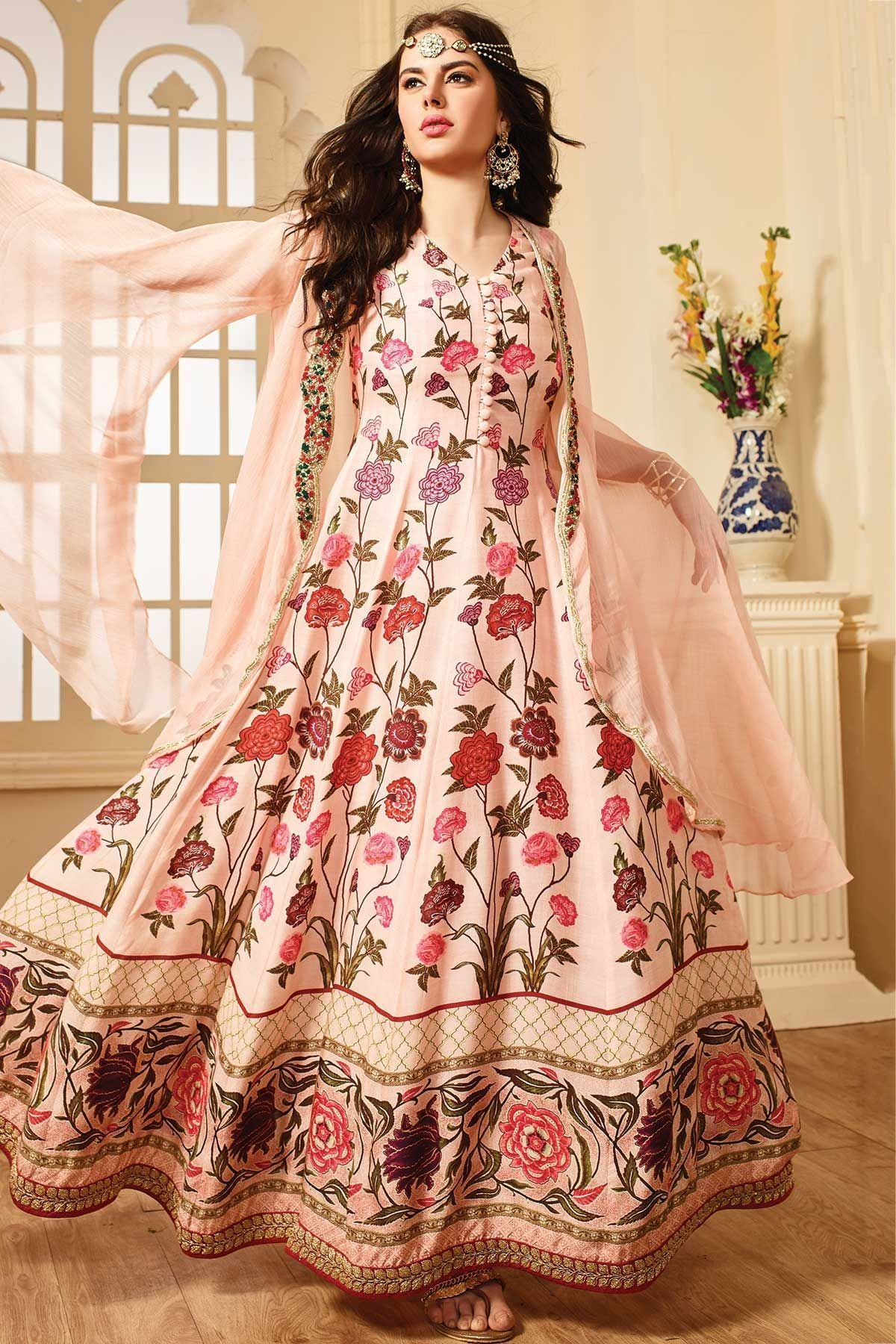 EthnicWear Embroidered Designer Pure Banglori Anarkali Gown With Dupatta