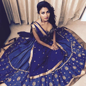 malayalam movie actress 2017 2018 Amala Paul Attractive Blue Taffeta Silk Embroidery Work Circular Lehenga Cholia