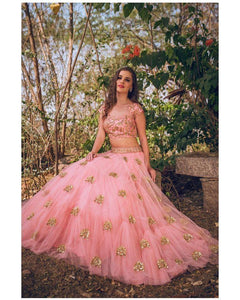 Beautiful Blush Pink Color Lehenga and Blouse with Hand Embroidery Zardosi Work from Kamala Meenakshi collection