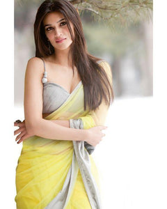Georgette Multicolored Designer Bollywood Kriti Sanon Saree with Blouse Material