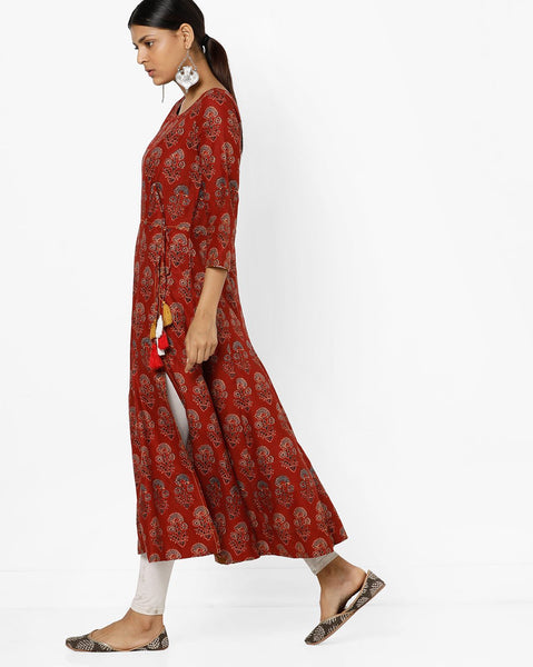 Fashion Designing Hot Sale Ethnic Printed Flared Kurti Tie-Up