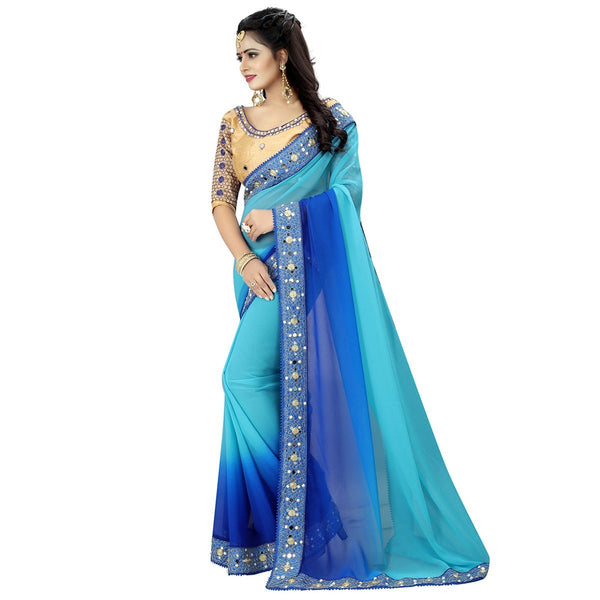 Georgette Blue Plain Saree