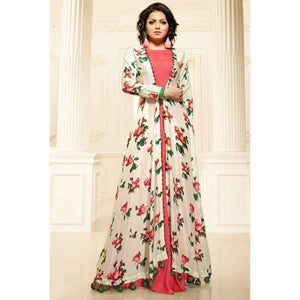 Drashti Dhami Crepe Cream & Peach Floral Print Stitched Double Layer Kurti