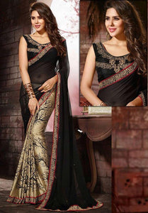Georgette colored Designer Bollywood Collection Saree with Blouse Peice