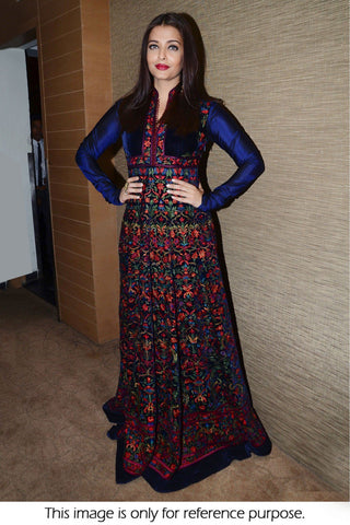 Aishwarya Rai Velvet Banglori Silk Party Wear Gown In Navy Blue Colour