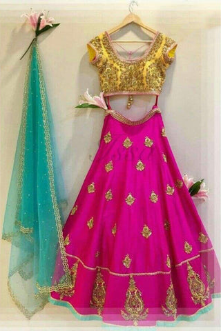 Party Wear Banglori Silk Lehenga Choli In Pink Colour