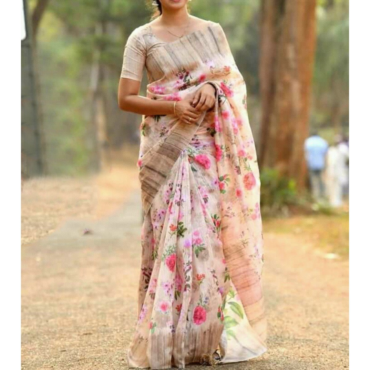 Cotton Silk Multicolour Floral Print Saree