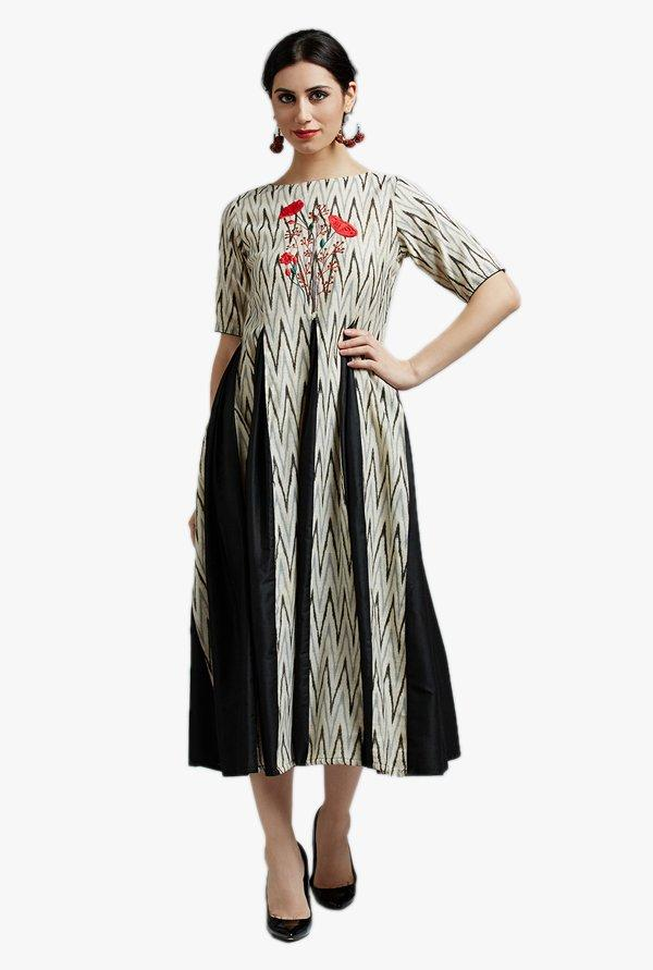 Beige & Black Embroidered Below Knee Kurti
