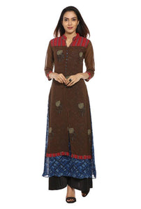 Brown & Navy Printed Georgette Kurti