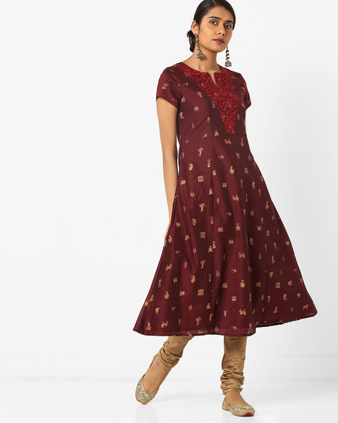 Fashion Designing Hot Sale Ethnic Printed Fit & Flare Front Slit Kurti Tie-Up