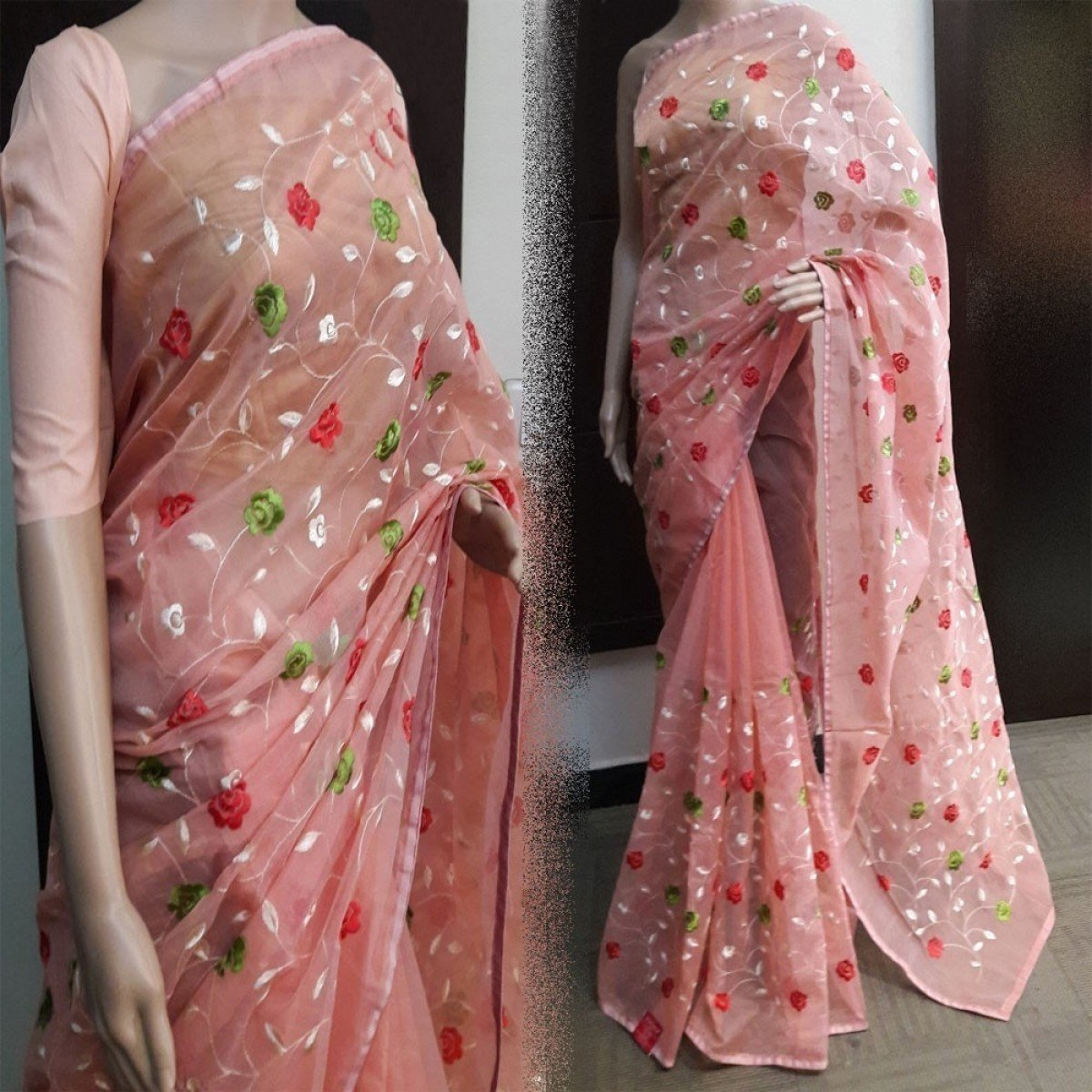Chanderi Silk Pink Embroidered Saree