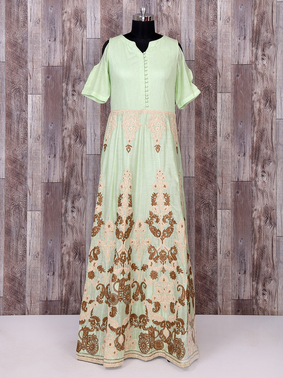 Anarkali Style Light Green Color Long Suit