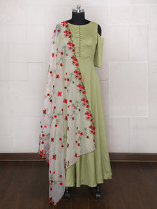 Anarkali Suit In Pista Green Color For Party