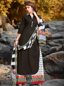 Black & White Cotton Printed Semi Stitched Suit