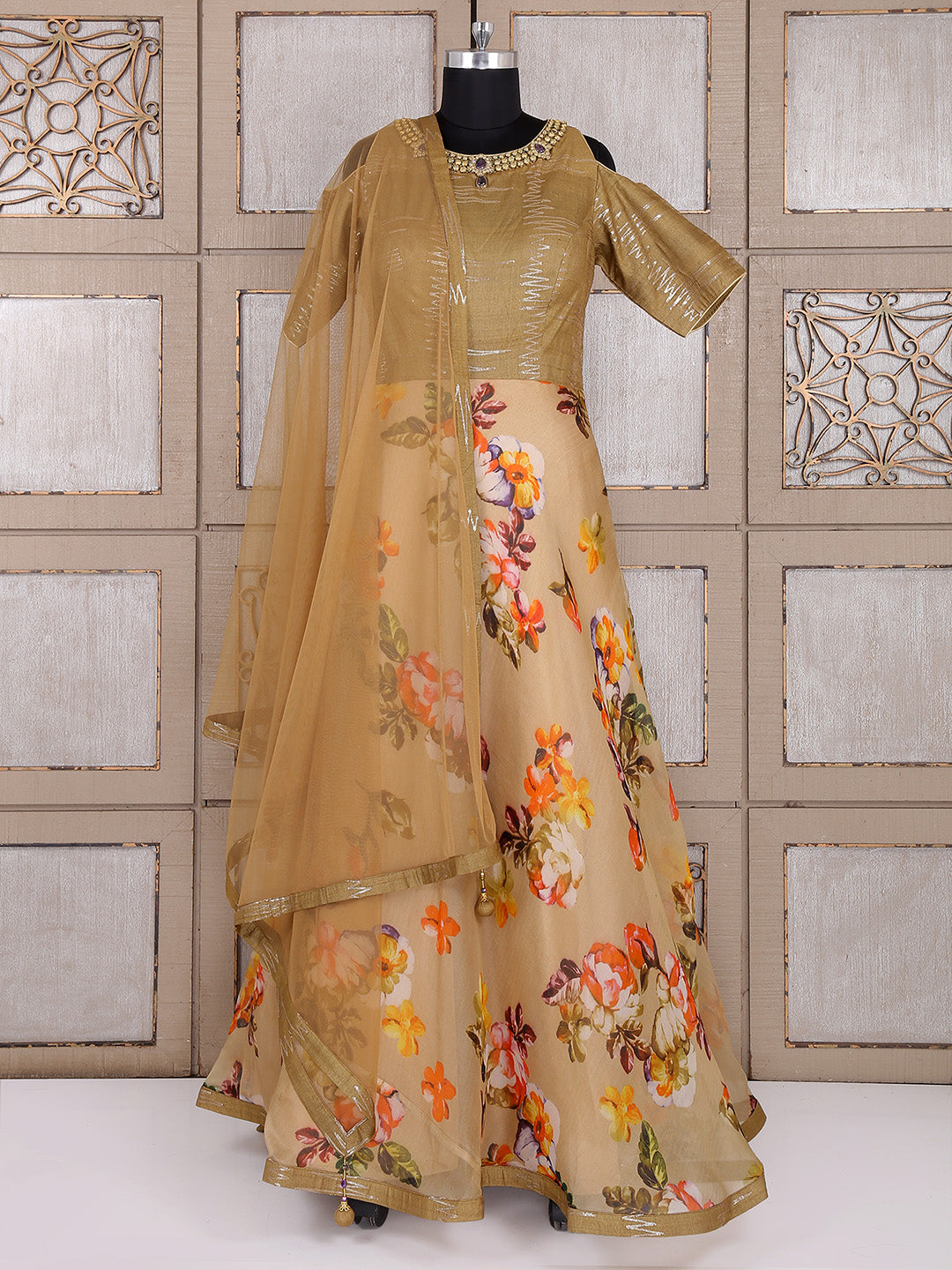 Beige And Brown Color Anarkali Suit