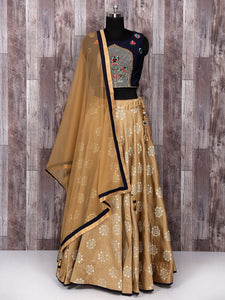 Beige And Navy Color Lehenga Choli