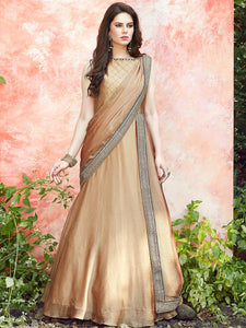 Beige Satin Silk Anarkali Suit