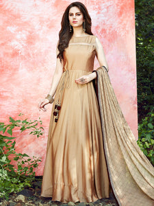 Beige Satin Silk Party Wear Anarkali Suit