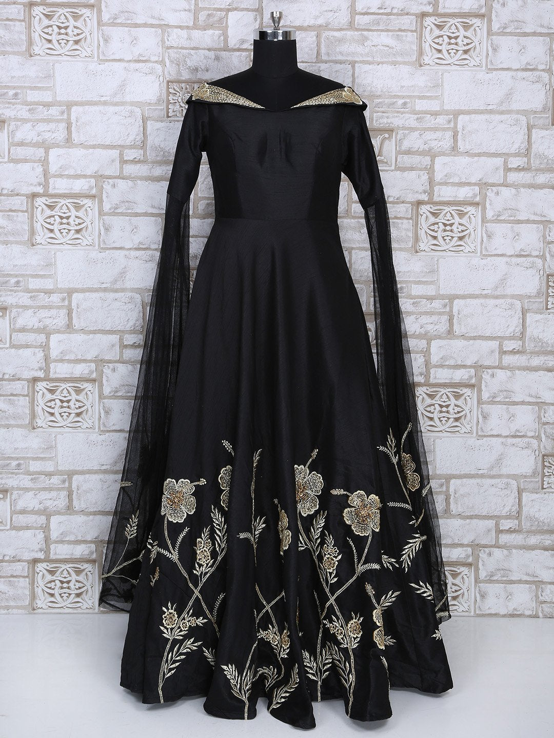 Black Designer Silk Fabric Gown