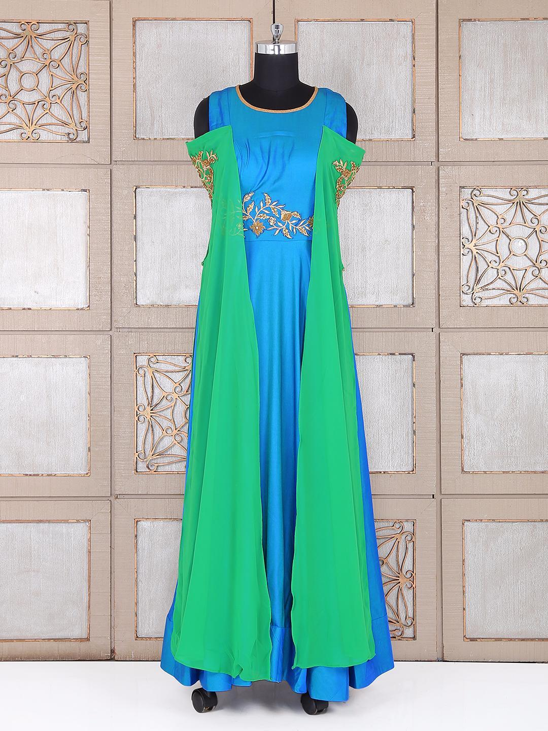 Blue Color Silk Party Wear Gown