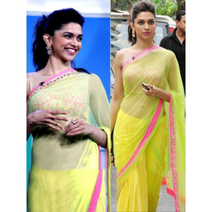 Deepika Padukone Net Yellow & Green Plain Bollywood Designer Saree