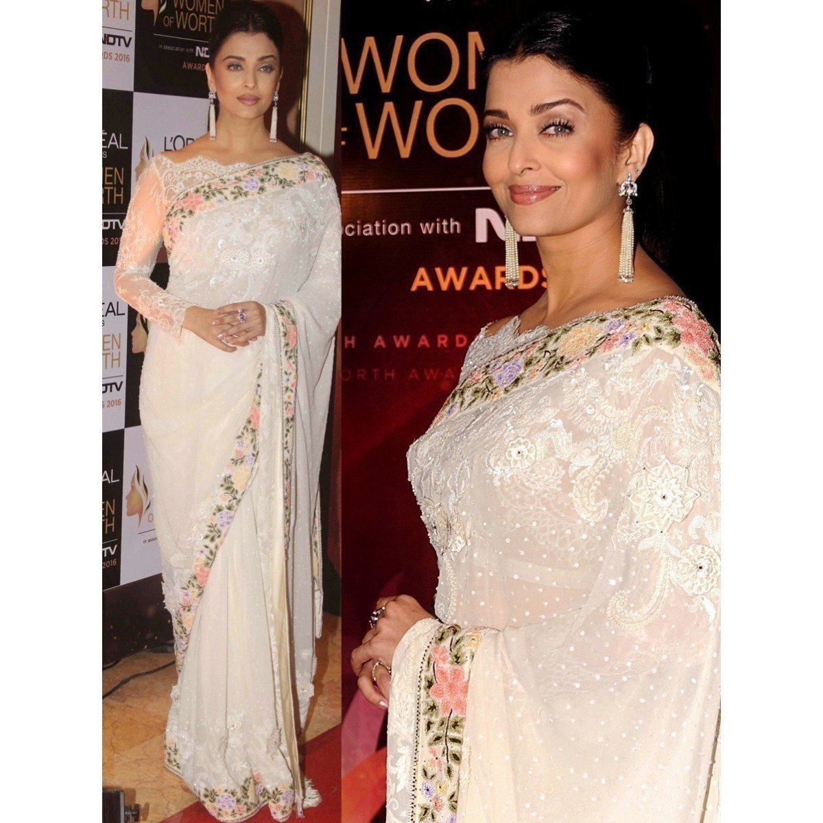 Aishwarya Rai Georgette Off-White Embroidered Bollywood Designer Saree