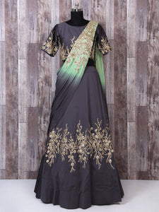 Bright Grey Color Silk Lehenga Choli