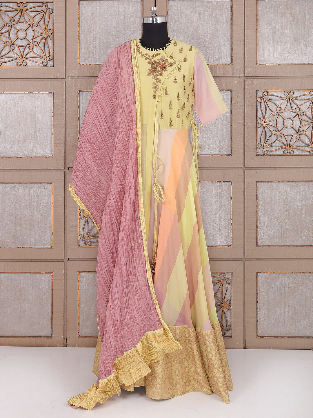 Bright Yellow Color Cotton Anarkali Suit