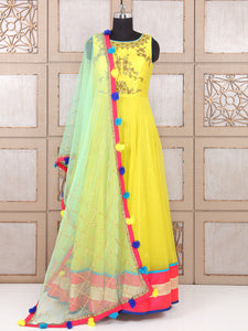 Bright Yellow Silk Fabric Wedding Wear Anarkali Suit