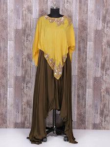 Brown And Yellow Color Satin Silk Gown Style Dress