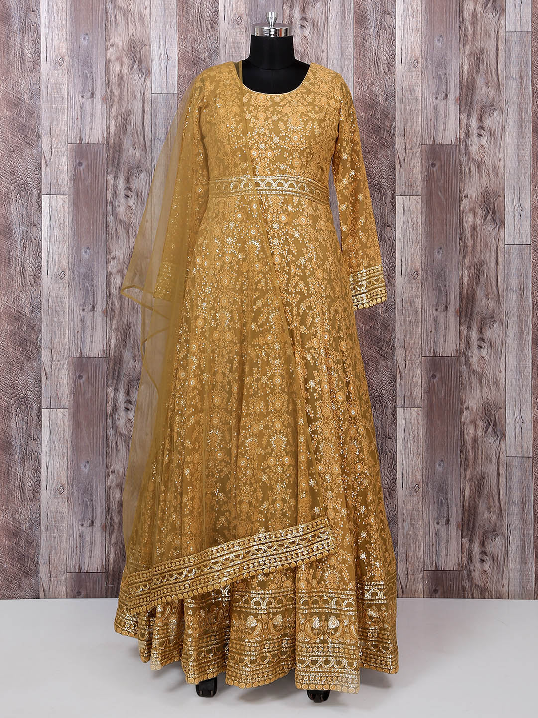 Brown Georgette Fabric Anarkali Suit