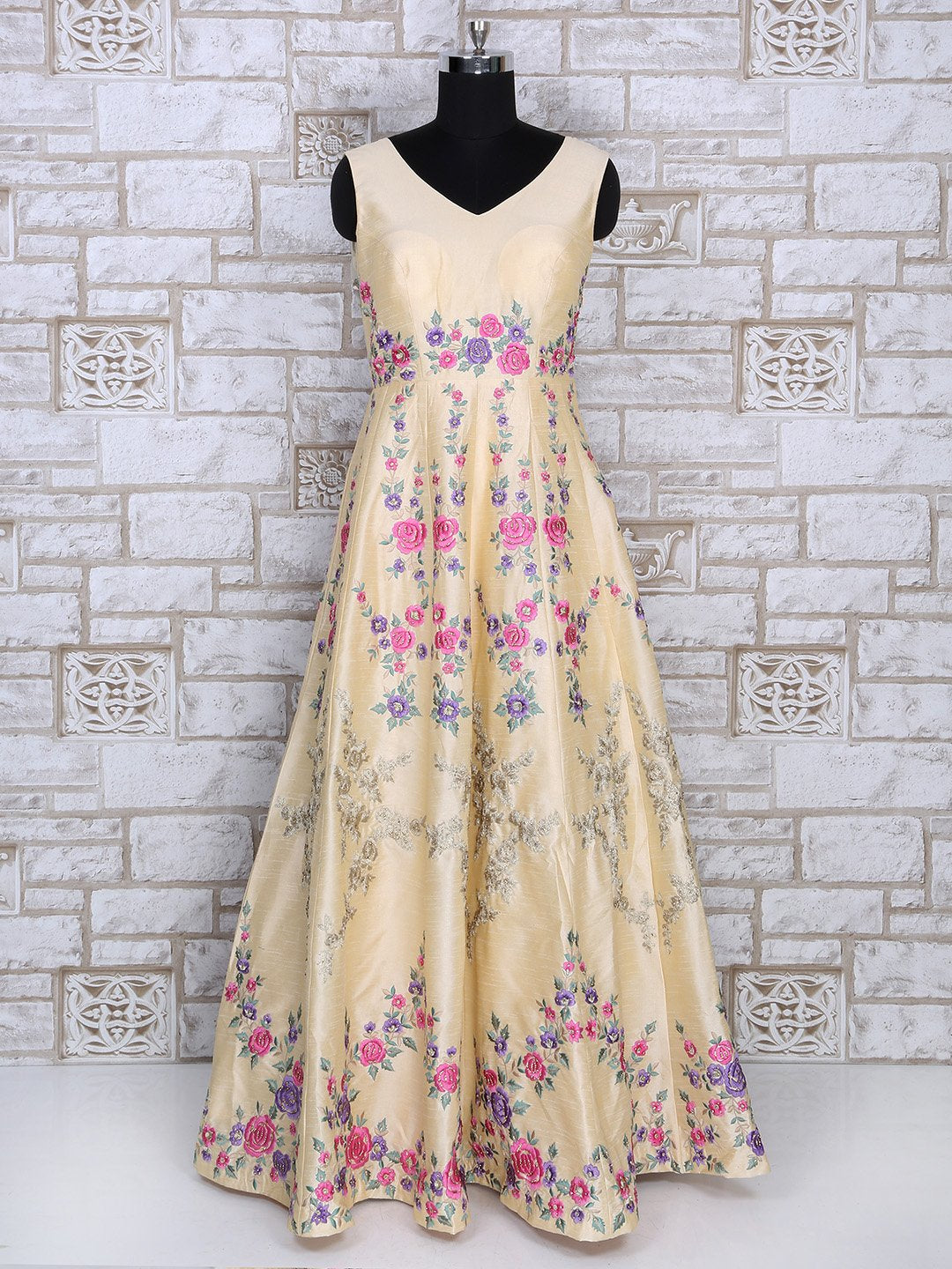 Cream Color Silk Gown