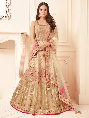 Cream Color Wedding Silk Anarkali Suit