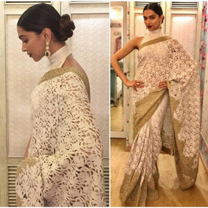 Deepika Padukone Net Machine Work White Bollywood Designer Saree