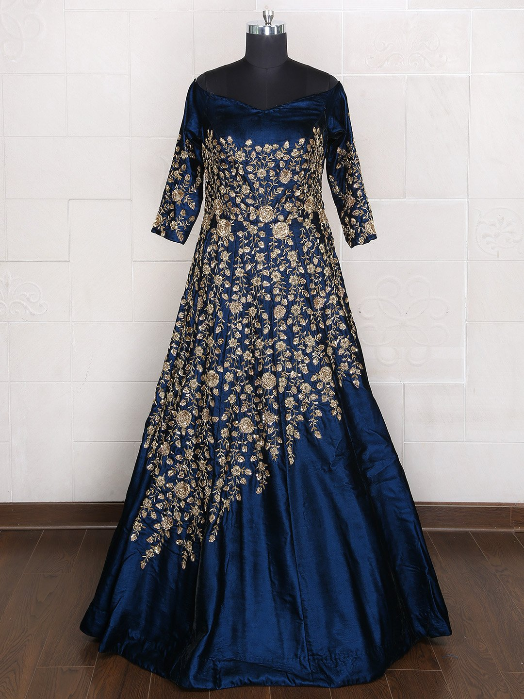 Designer Bridal Wear Blue Gown