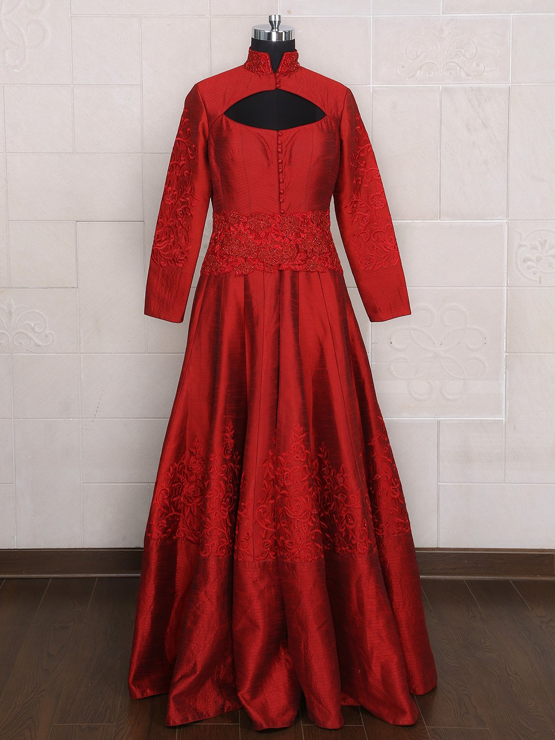 Designer Maroon Silk Bridal Wear Gown