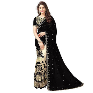 Georgette Black & Cream Embroidered Half & Half Saree