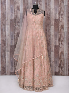 Dusty Pink Color Net Fabric Designer Anarkali Suit