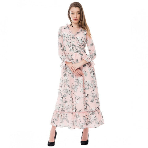 Polyester Peach Floral Print Maxi Dress